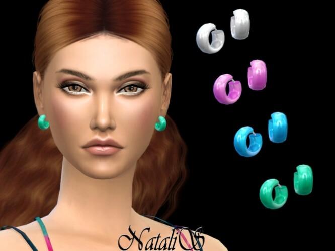 Wide enamel hoop earrings by NataliS