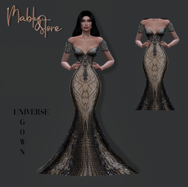 Sims 4 UNIVERSE GOWN at Mably Store