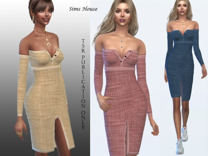 Sims 4 Front slit dress by Sims House at TSR