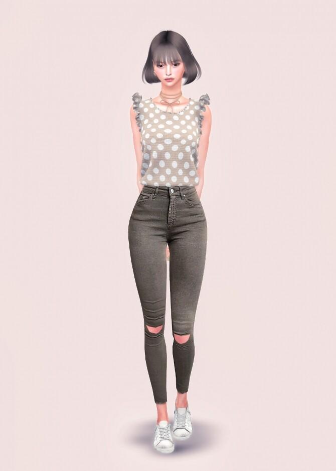 Sims 4 Ruffle Sleeveless Top at L.Sim
