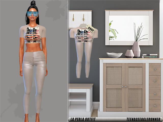 Sims 4 La Perla top & leather pants at Teenageeaglerunner