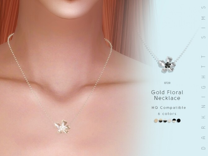 Gold Floral Necklace by DarkNighTt at TSR image 1433 670x503 Sims 4 Updates