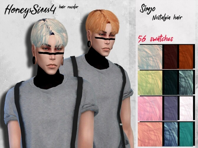 Sims 4 Simjo Nostalgia male hair recolor by HoneysSims4 at TSR