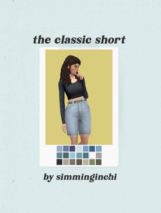 Sims 4 The Classic Jean Short + belt overlay recolor at Simminginchi