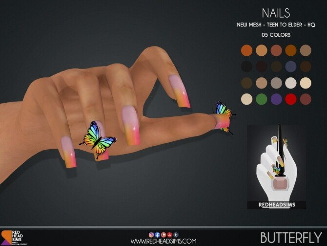 BUTTERFLY NAILS by Thiago Mitchell at REDHEADSIMS image 15110 670x503 Sims 4 Updates