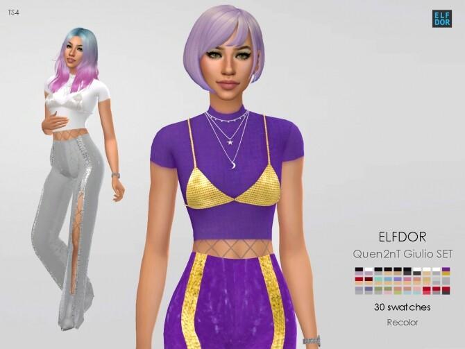 Sims 4 Quen2nT Giulio Set RC: top & pants at Elfdor Sims