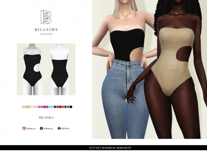 Cut Out Bandeau Bodysuit by Bill Sims at TSR image 15813 670x503 Sims 4 Updates