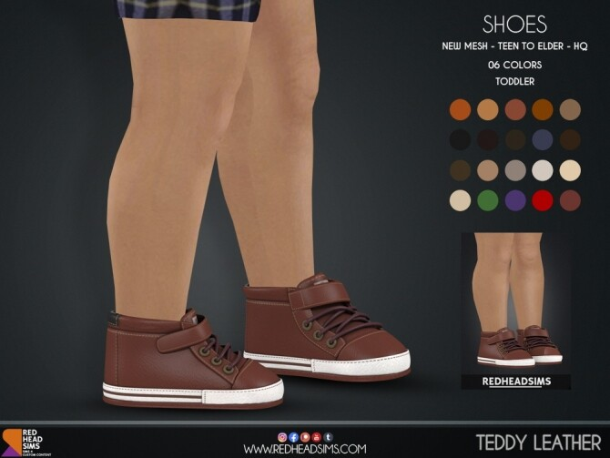 Sims 4 TEDDY LEATHER SHOES KIDS + TODDLER at REDHEADSIMS