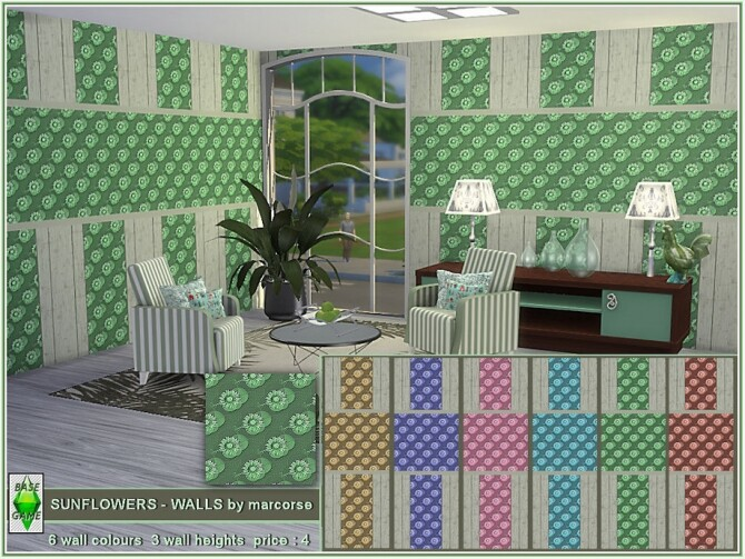 Sims 4 Sunflowers walls by marcorse at TSR