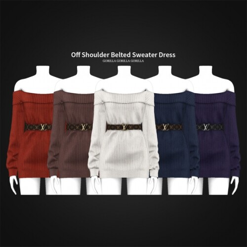 Off Shoulder Belted Sweater Dress