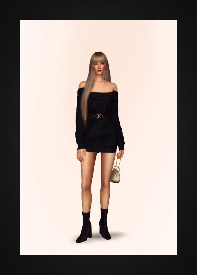 Off Shoulder Belted Sweater Dress at Gorilla image 1635 670x937 Sims 4 Updates