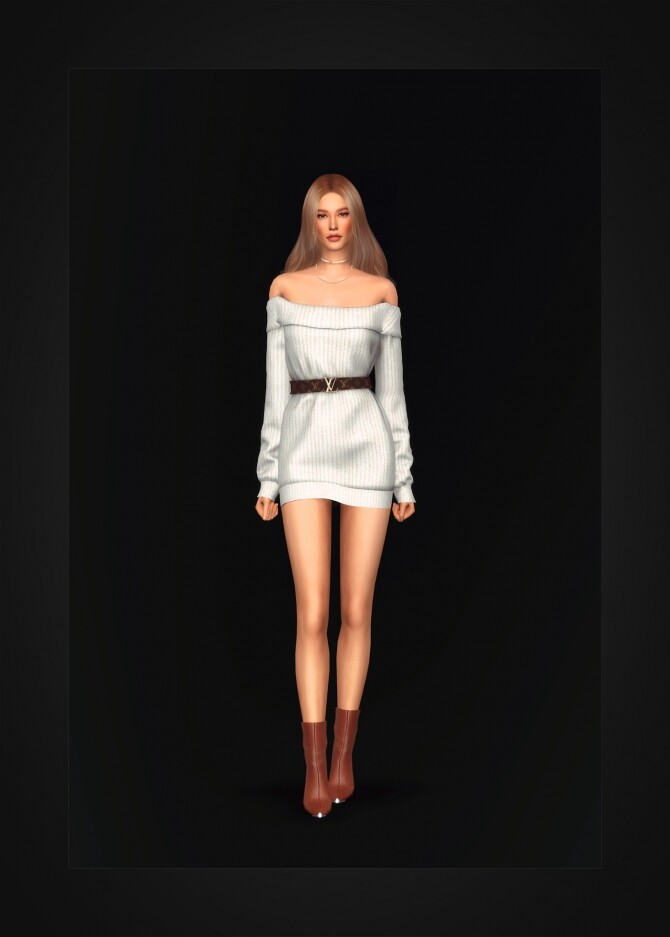 Off Shoulder Belted Sweater Dress at Gorilla image 1645 670x937 Sims 4 Updates