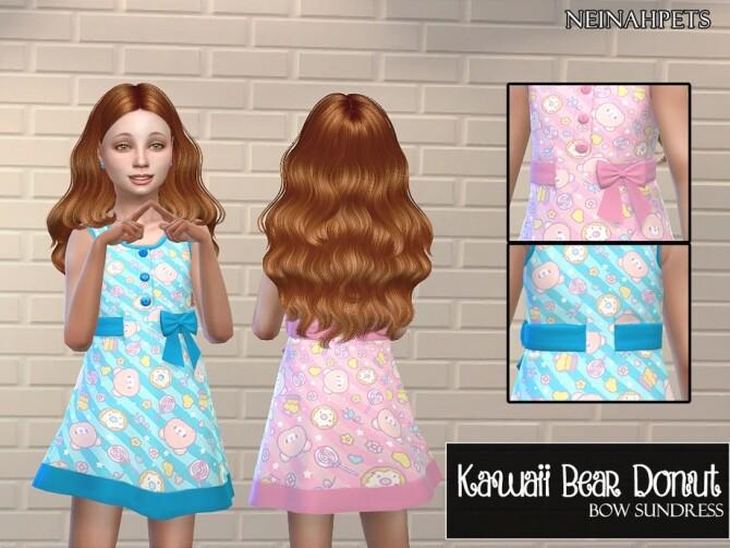 Sims 4 Kawaii Bear Donut Bow Sundress by neinahpets at TSR