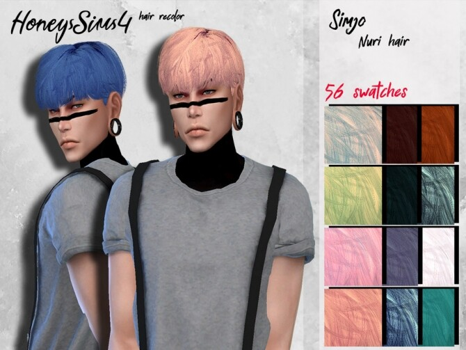Sims 4 Simjo Nuri male hair recolor by HoneysSims4 at TSR
