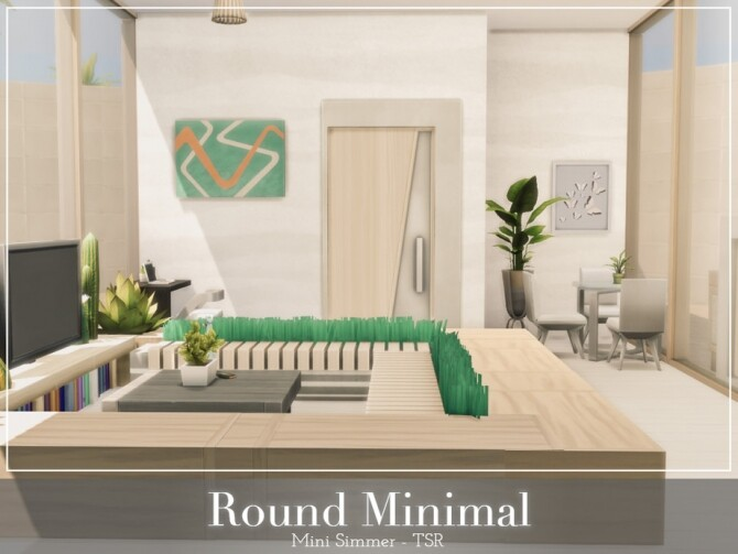Sims 4 Round Minimal Home by Mini Simmer at TSR