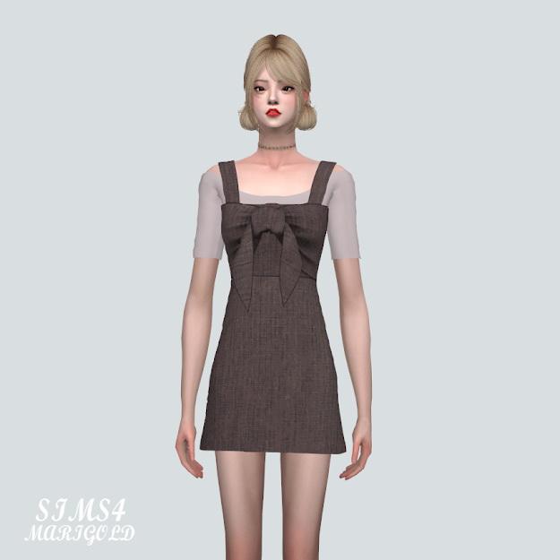 Sims 4 Summer Ribbon Sleeveless Dress With T V2 at Marigold