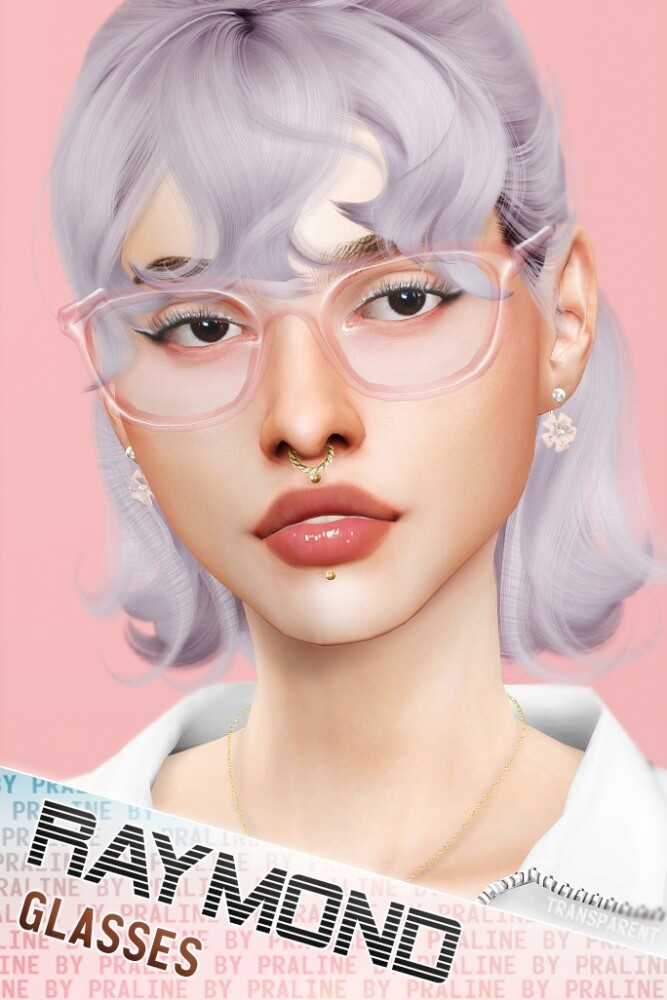 Sims 4 RAYMOND Glasses (Solid + Transparent) at Praline Sims