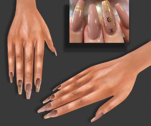 LV Beige Nails HQ one color