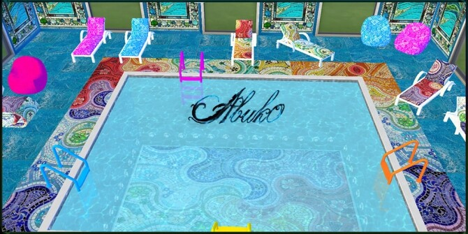 Sims 4 Mendence pool furniture, tiles and window at Abuk0 Sims4