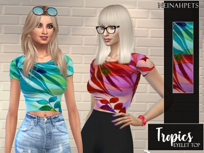 Tropics Eyelet Top by neinahpets at TSR image 2018 670x503 Sims 4 Updates