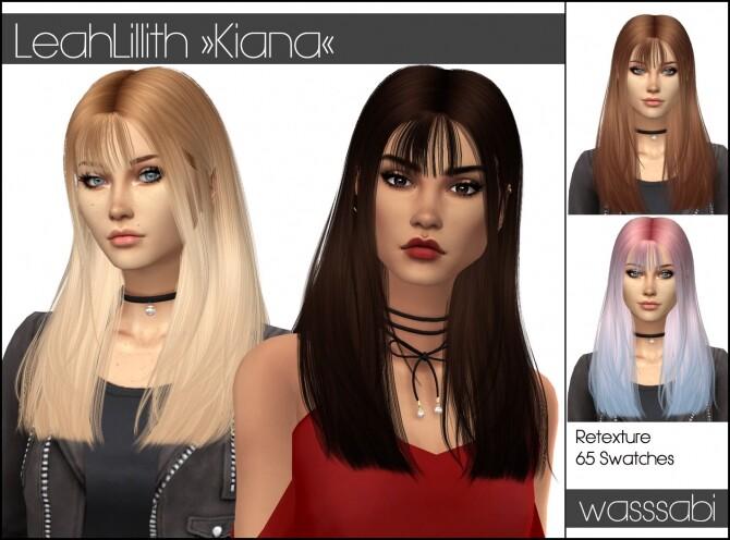 Sims 4 LeahLillith Kiana hair retextured at Wasssabi Sims
