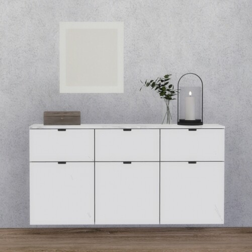 Nordli Wall Hanged Sideboard and clutter