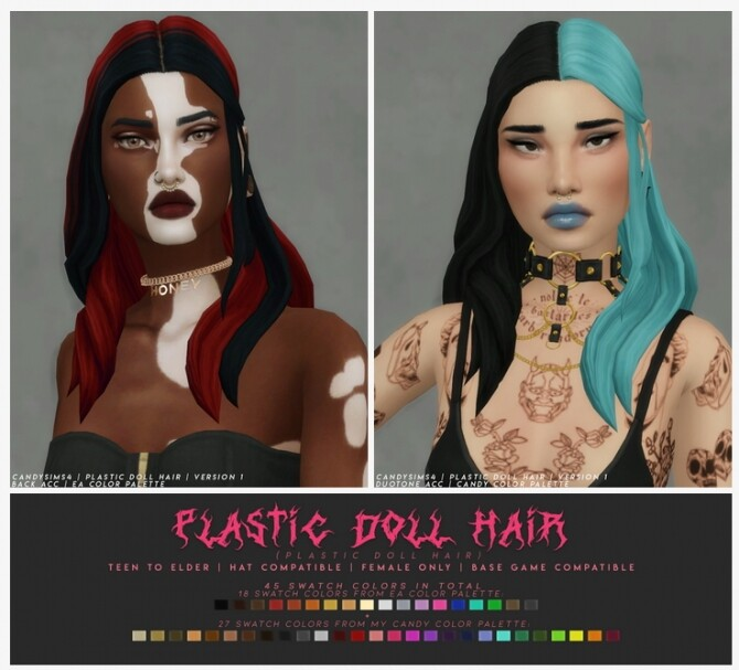 Sims 4 PLASTIC DOLL HAIR + ACCS at Candy Sims 4