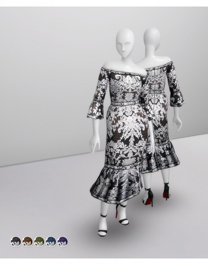 BNW Off Shoulder Guipure Dress at Rusty Nail image 213 670x851 Sims 4 Updates