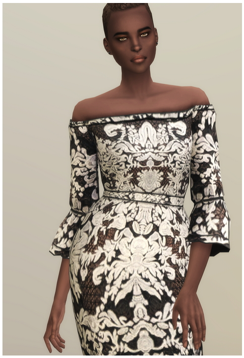BNW Off Shoulder Guipure Dress at Rusty Nail image 215 Sims 4 Updates