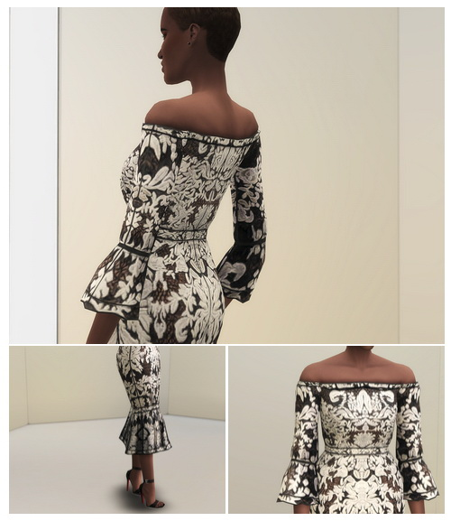 BNW Off Shoulder Guipure Dress at Rusty Nail image 217 Sims 4 Updates