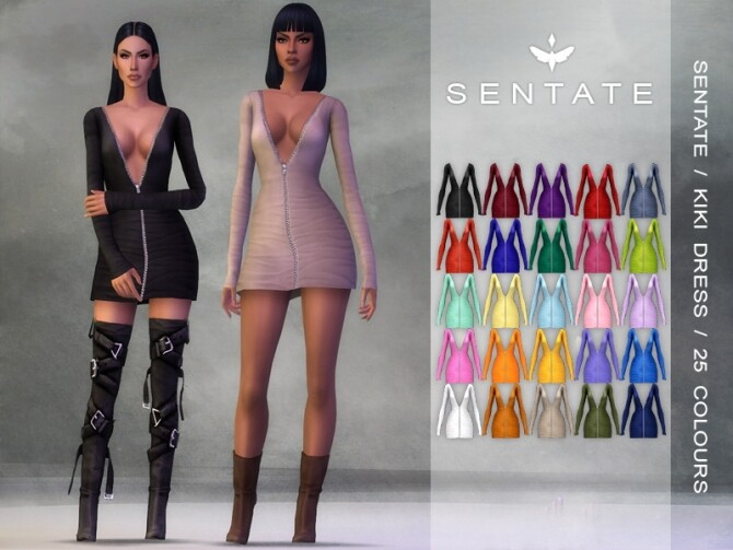 Sims 4 KIKI DRESS 25 COLOURS at Sentate