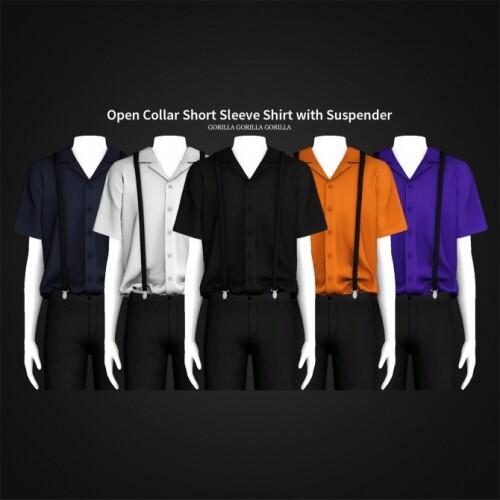 Open Collar Short Sleeve Shirt with Suspender
