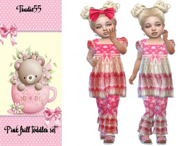 Sims 4 Pink frill toddler set by TrudieOpp at TSR