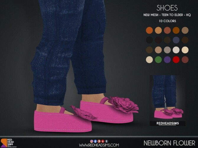 Sims 4 NEWBORN FLOWER SHOES at REDHEADSIMS