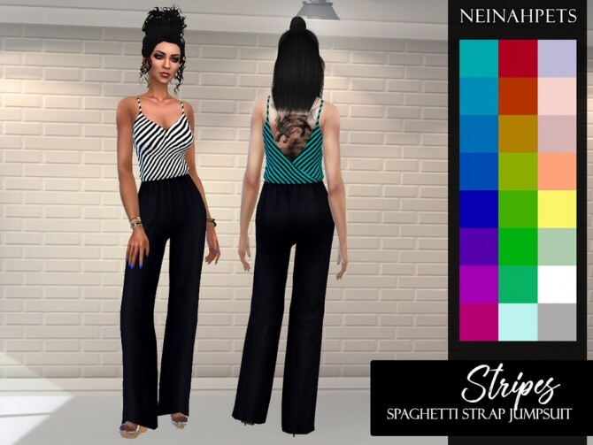 Sims 4 Stripes Spaghetti Strap Jumpsuit by neinahpets at TSR
