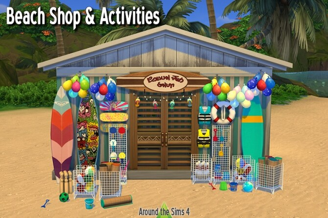 Sims 4 Beach shop & activities at Around the Sims 4