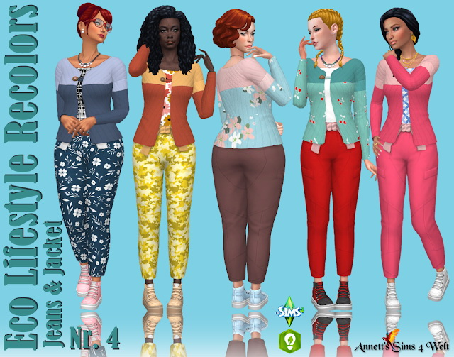 Sims 4 Eco Lifestyle Recolors Jeans & Jacket Nr. 4 at Annett's Sims 4 Welt