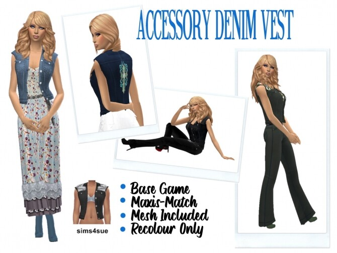 Sims 4 ACCESSORY DENIM VEST at Sims4Sue