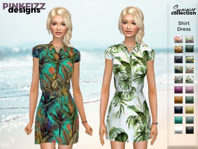 Sims 4 Summer Shirt Dress PF129 by Pinkfizzzzz at TSR