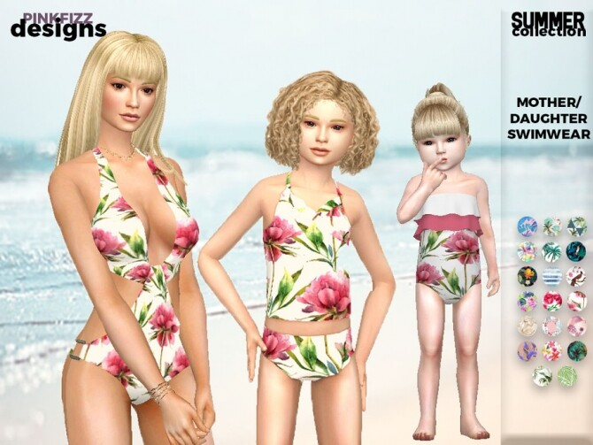 Sims 4 Mother/Daughter Summer Swimsuits by Pinkfizzzzz at TSR