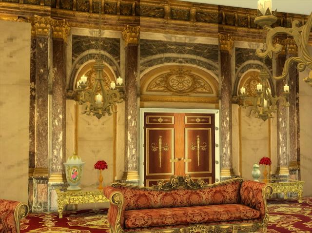 Sims 4 Versailles Battle Room Wall set at Anna Quinn Stories