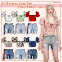 Puff sleeve Crop Top  Scarf Short Jeans