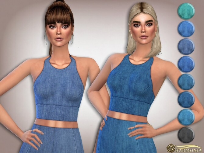 Sims 4 Stretch denim Soft cup Bralet by Harmonia at TSR