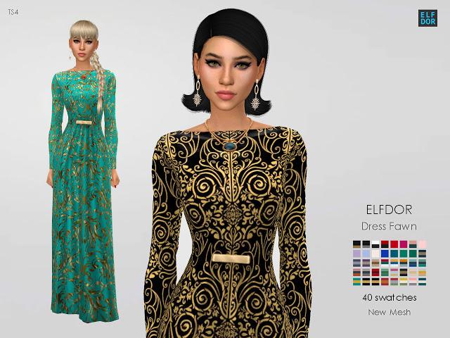 Dress Fawn at Elfdor Sims image 2703 Sims 4 Updates