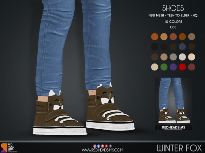WINTER FOX SHOES KIDS + TODDLER at REDHEADSIMS image 2711 670x503 Sims 4 Updates