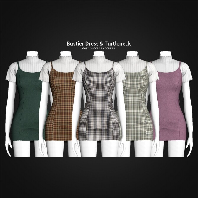 Sims 4 Bustier Dress & Turtleneck at Gorilla