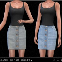 Baby blue denim skirt by Pipco