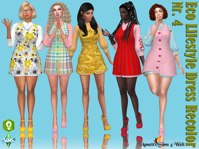 Sims 4 Eco Lifestyle Recolors Dress Nr. 4 at Annett's Sims 4 Welt