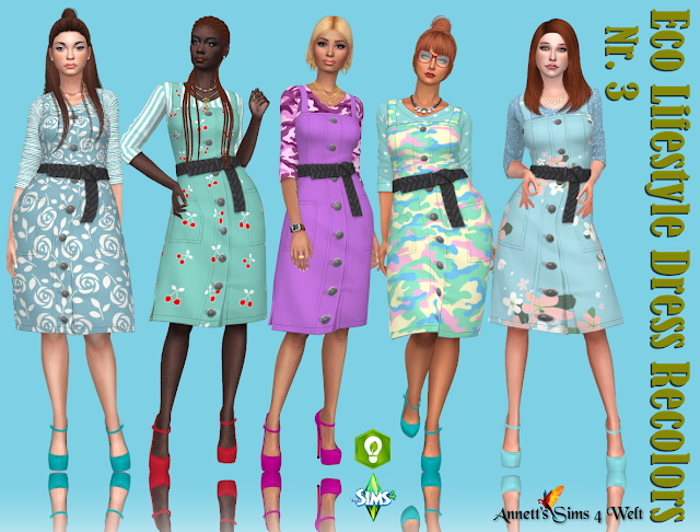 Sims 4 Eco Lifestyle Recolors Dress Nr 3 at Annett's Sims 4 Welt