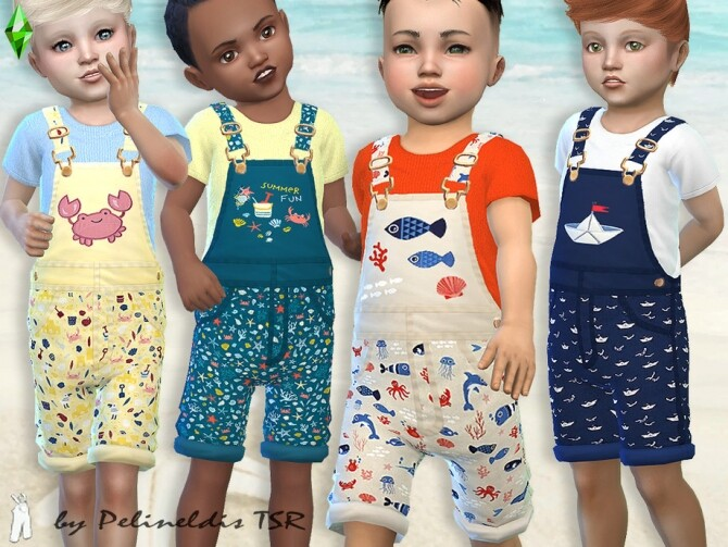 Sims 4 Toddler Beachtime Short Overall by Pelineldis at TSR